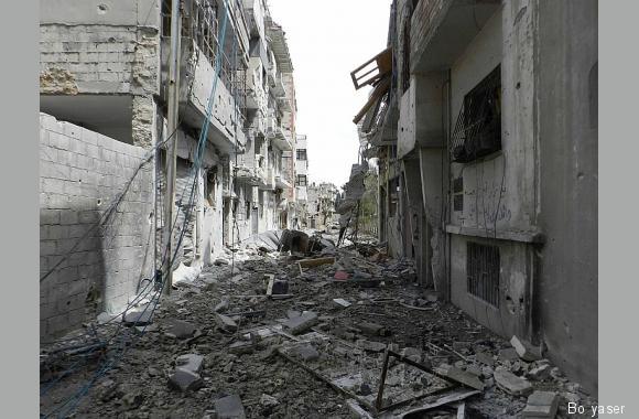 Zerstörter Straßenzug in Homs (Syrien), Bo yaser