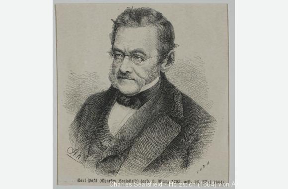 Charles Sealsfield - Holzstich (1864) von August Neumann