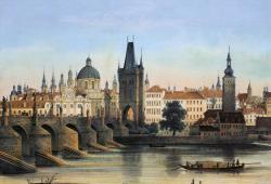 Karlsbrücke ca. 1840, Lithografie von František Xaver Sandmann (1805 - 1856)